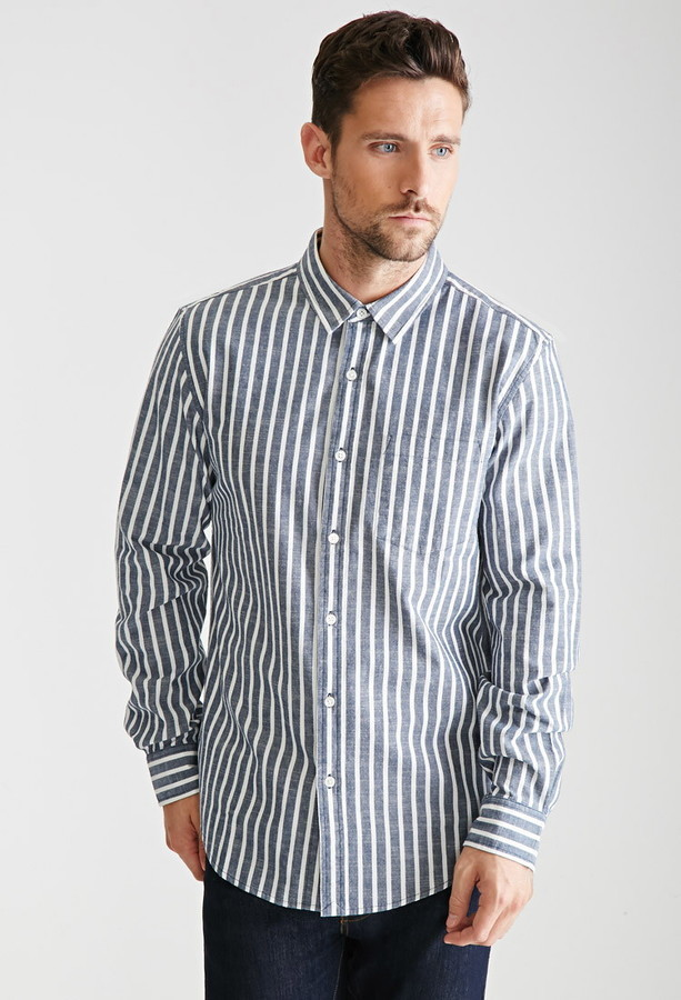 Forever 21 Striped Chambray Button Down Shirt | Where to buy & how ...