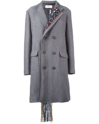 Facetasm Pinstriped Woven Detail Coat