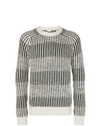 Grey Vertical Striped Crew-neck Sweater