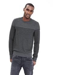 Striped extra fine merino wool crew pullover medium 334890