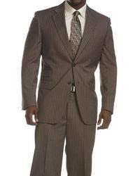 2 piece pinstriped grey 3 pocket suit medium 9419