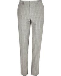 River Island Grey Stripe Wool Blend Skinny Suit Pants