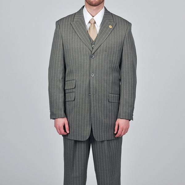 51f04e4ec6c2 Stacy Adams Grey Striped 3 Button Vested Suit, $99 | Overstock ...