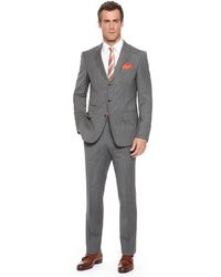 Haviltongense slim fit super 100 italian virgin wool pinstripe suit dark grey medium 9416