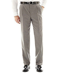 jcpenney Stafford Travel Gray Stripe Pleated Suit Pants