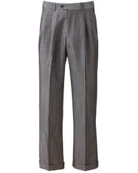Steve Harvey Striped Double Pleated Gray Suit Pants