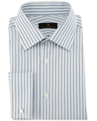 Bold stripe dress shirt graywhite medium 1138763