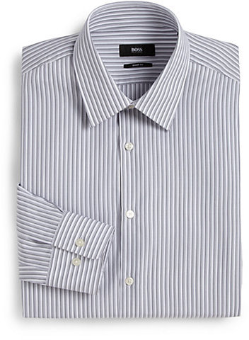 ... Hugo Boss Boss Sharp Fit Textured Stripe Dress Shirt