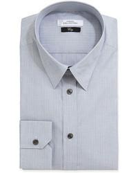 Versace City Fit Long Sleeve Striped Poplin Dress Shirt Gray