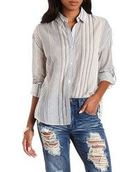 En Creme En Crme Striped Split Back Button Up Shirt