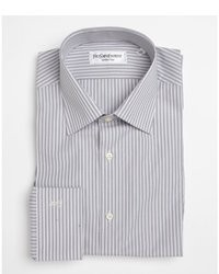 Yves Saint Laurent Grey And White Cotton Striped Button Front Shirt