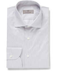 Canali Grey Slim Fit Striped Cotton Shirt