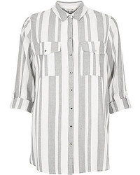River Island Grey Stripe Casual Shirt