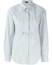 Jil sander navy lace up detail striped shirt medium 431451