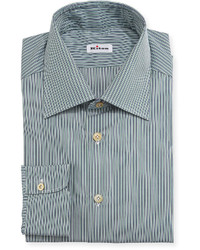 Micro stripe woven dress shirt green medium 603512