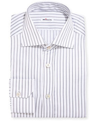 Kiton Multi Stripe Cotton Dress Shirt Gray