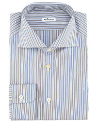 Kiton Multi Striped Poplin Dress Shirt Bluewhitegray