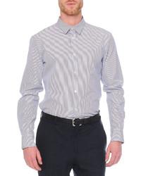 Alexander McQueen Striped Double Collar Sport Shirt Blue