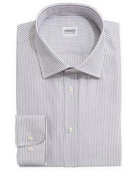 Textured striped dress shirt gray medium 21687