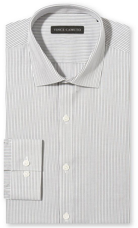 Grey Vertical Striped Dress Shirt: Vince Camuto Slim Fit ...