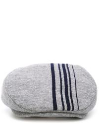 Grey Vertical Striped Flat Cap