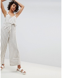 Stradivarius Striped Linen Jumpsuit