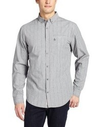 Grey Vertical Striped Long Sleeve Shirt
