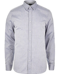 River Island Grey Stripe Long Sleeve Shirt