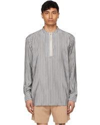 Ermenegildo Zegna Couture Grey White Silk Striped Shirt