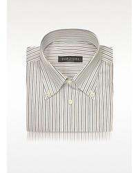 Forzieri Striped White Cotton Button Down Italian Dress Shirt