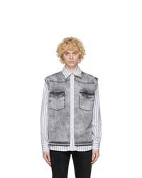 Dolce and Gabbana White And Grey Denim Vest Shirt