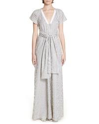 Rosetta Getty Wrap Panel Stripe Poplin Maxi Dress