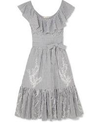 Tory Burch Ruffled Striped Broderie Anglaise Cotton Seersucker Dress