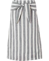 Grey Vertical Striped Midi Skirt