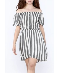 Grey Vertical Striped Off Shoulder Dress
