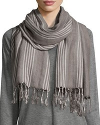 Eileen Fisher Blanket Striped Serape Scarf Ash