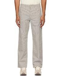 RRL Grey Off White Seersucker Striped Trousers