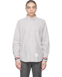 Thom Browne Grey Seersucker Stripe Shirt
