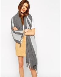 Grey Vertical Striped Shawl