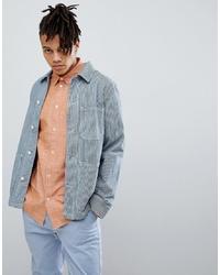Grey Vertical Striped Shirt Jacket