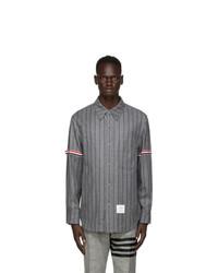 Thom Browne Grey Stripe Armband Snap Front Jacket