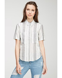 Mixed stripe linen blend shirt medium 430058