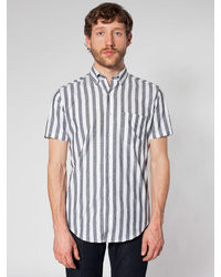 Grey Vertical Striped Short Sleeve Shirt