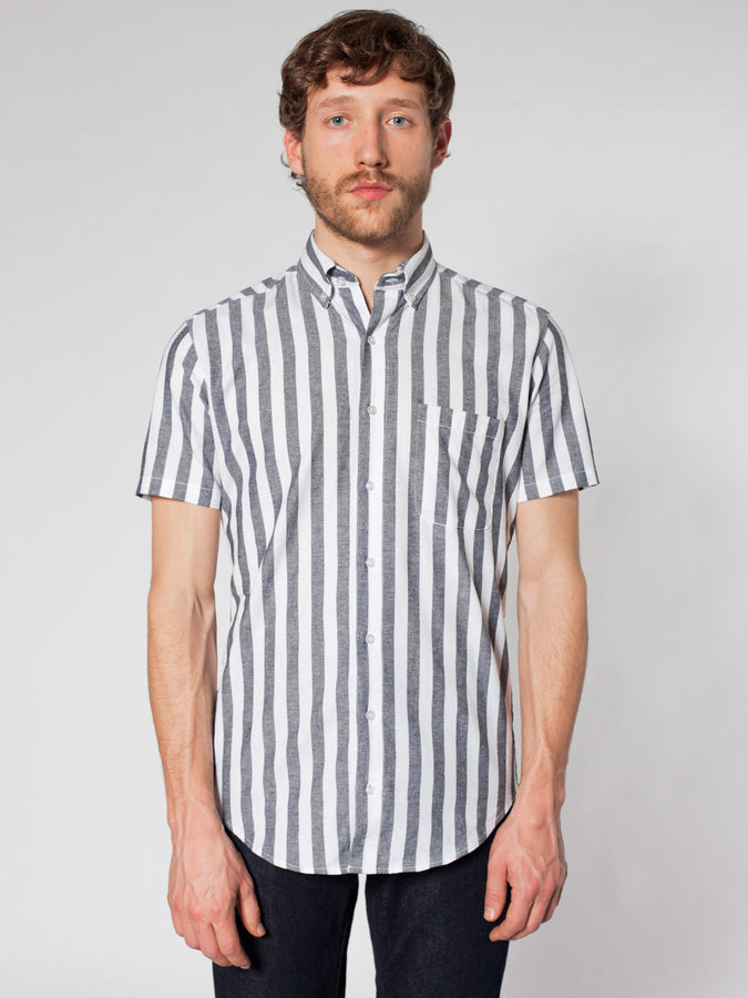 Grey vertical striped short sleeve shirt american apparel for Striped button down shirts for men
