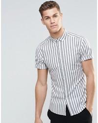3466562b3a Grey Vertical Striped Short Sleeve Shirts for Men   Men's Fashion ...