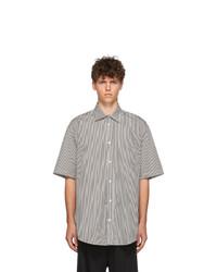 Balenciaga Black And Off White Stripe Short Sleeve Shirt
