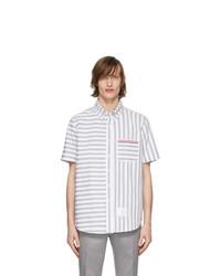 Thom Browne Grey And White University Stripe Shirt