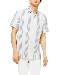 Topman Slim Fit Oxford Stripe Short Sleeve Button Up Shirt