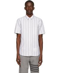 Thom Browne White Grey Oxford Shadow Stripe Short Sleeve Shirt