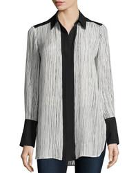 Vince Wavy Stripe Print Silk Blouse Optic Whiteblack